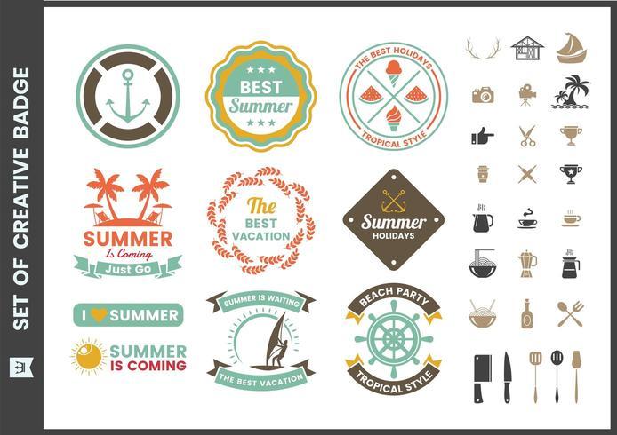 Conjunto de emblemas retrô de verão colorido