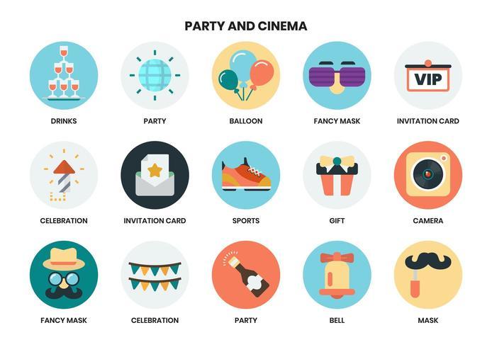 Uppsättning av cirkulära party ikoner