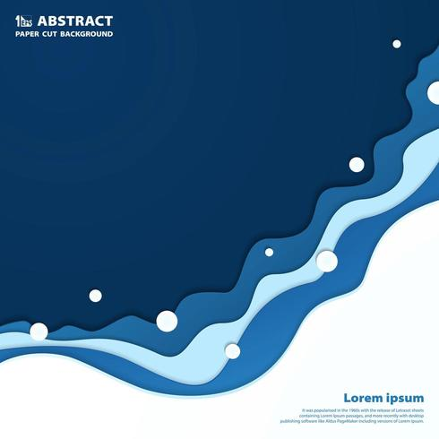 Fondo ondulato blu astratto della carta del taglio del mare