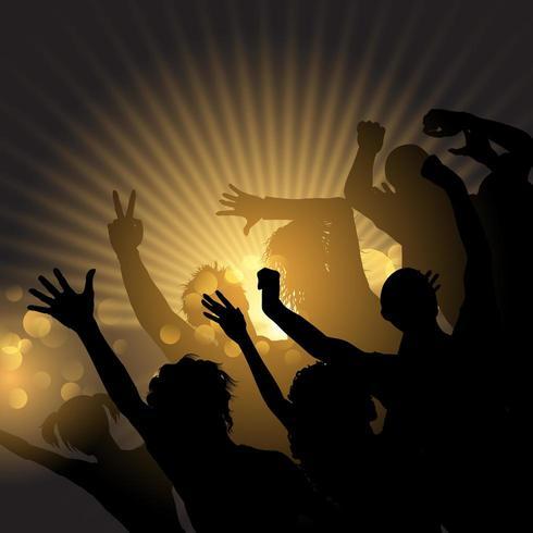 Partijmenigte op een starburstachtergrond