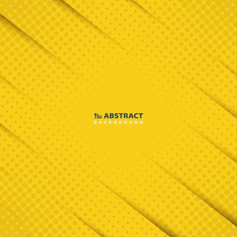 Abstract yellow cut paper with halftone dots pattern  vector