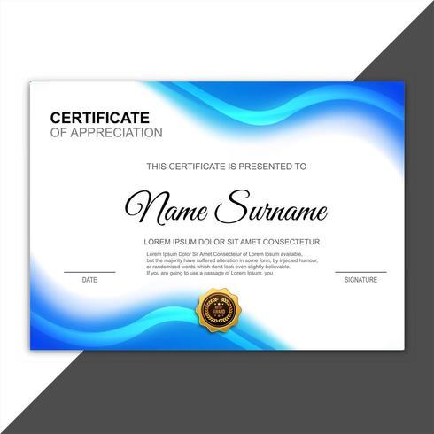 certifikat för uppskattning utmärkelsen blå mall