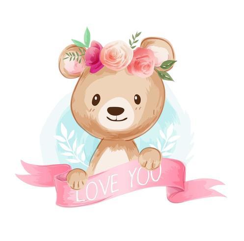 cute cartoon bear on floral crown illustration vector