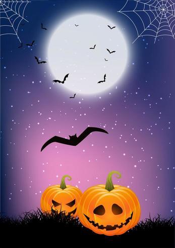 zucche e ragnatele Sfondo di Halloween vettore