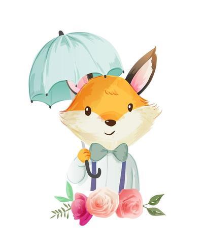 niedlicher Cartoonfuchs, der Regenschirmillustration hält