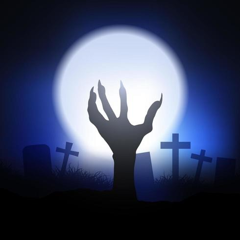 Zombie hand reaching from the ground  vector