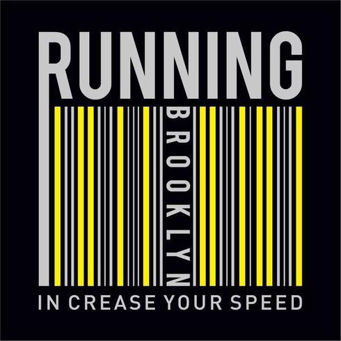 Athletic sport running increase your speed typography vector