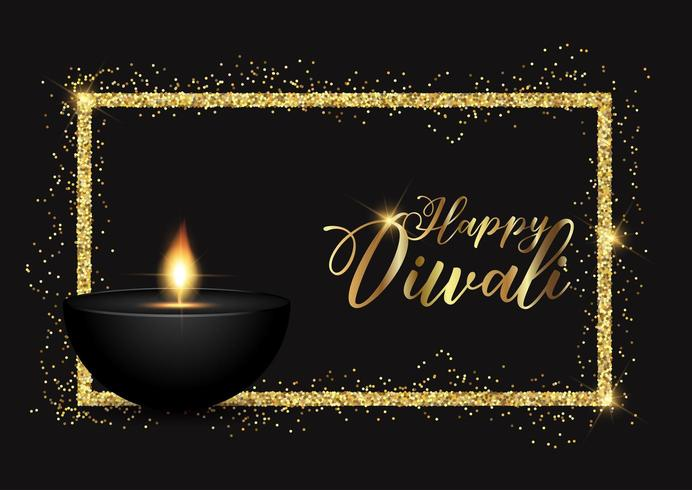 Diwali bakgrund med guld glitterig kant