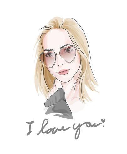 Te amo lema con chica en gafas de sol ilustración