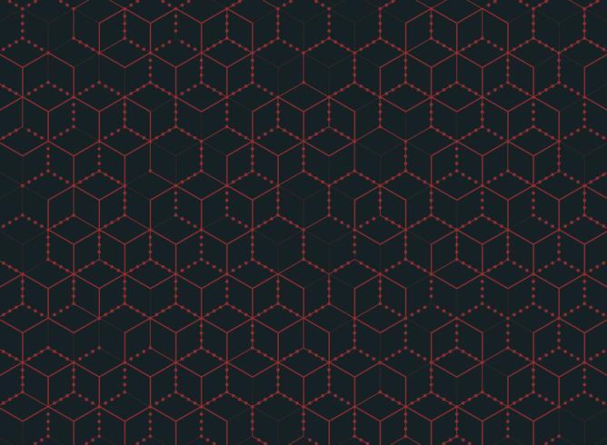 Motif hexagonal abstrait contour point rouge