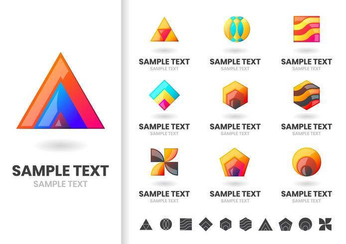 Conjunto de logotipos e insignias de formas en capas vector