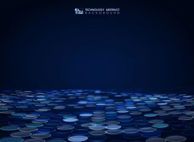 Abstract glowing blue circle receding pattern