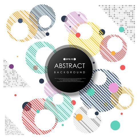 Burbujas coloridas abstractas moderno patrón de círculos rayados