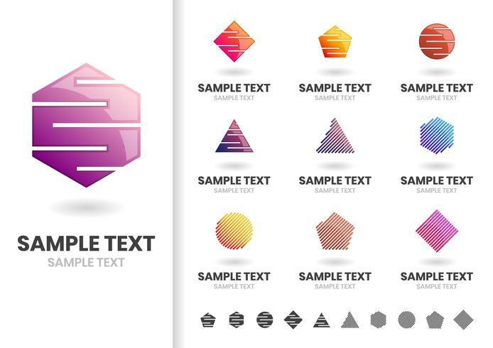Set of cut out geometric shape logos