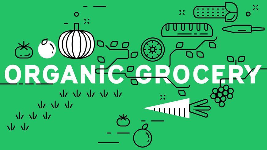 Banner de supermercado orgânico com fundo verde