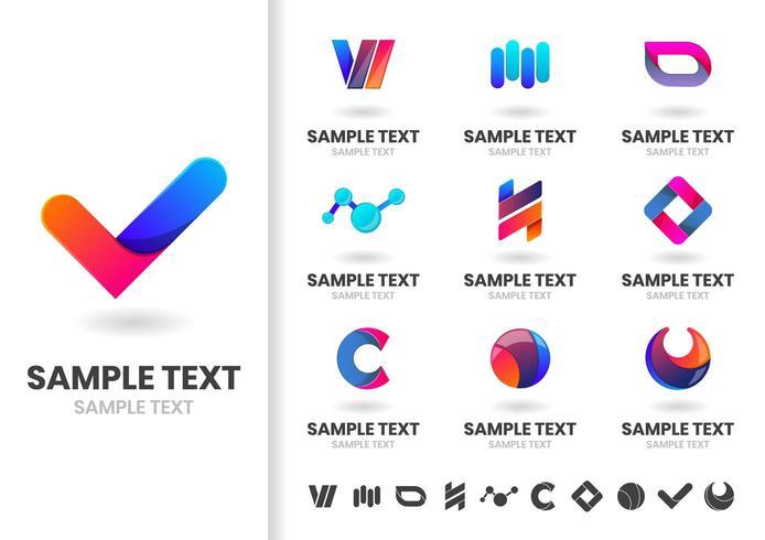 Uppsättning av blå och röda sammanlåsande former logotyper