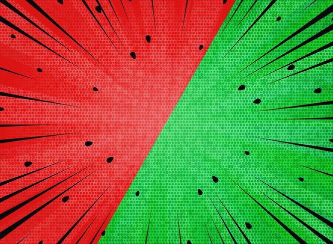 Resumen verde rojo contraste rayos de sol negro líneas y patrón de puntos vector
