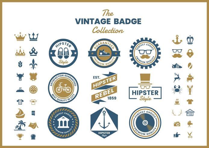 Set of blue gold vintage round badges