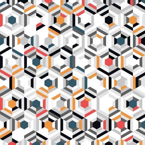 Modello di mosaico astratto gradiente colorato esagono