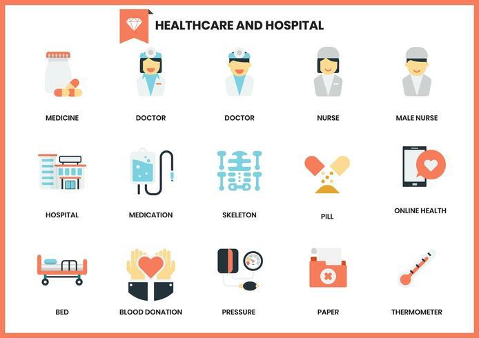 Insieme delle icone di sanità e dell'ospedale su bianco