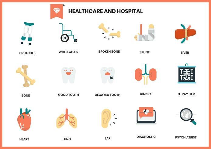 Set Krankenhaus- und Gesundheitspflegeikonen