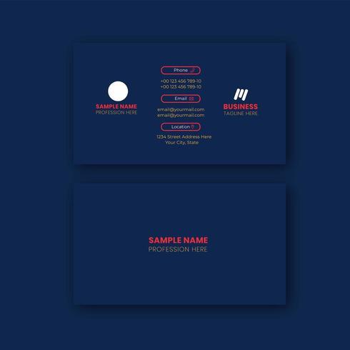Diseño de tarjeta de visita azul marino
