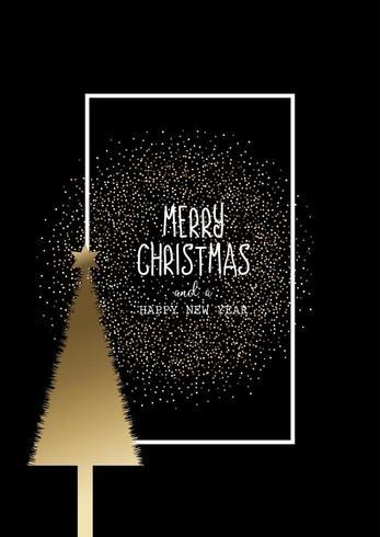 Sfondo di Natale con albero d'oro e glitter