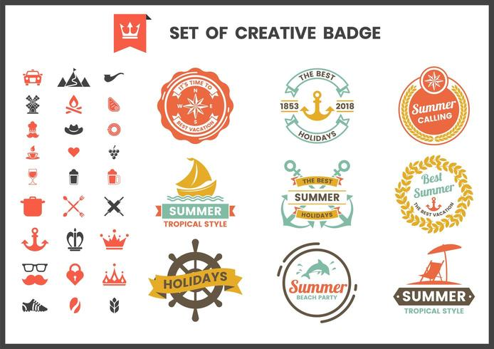 Set of colorful retro badges and logos