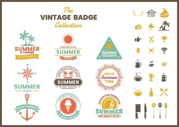 Reeks kleurrijke zomer retro badges