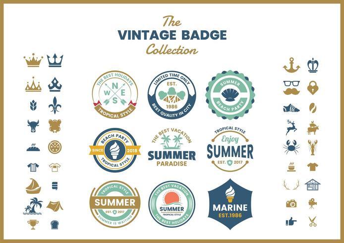 Conjunto de emblemas de logotipo vintage verde azul