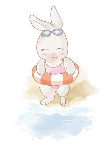 conejo de dibujos animados y anillo de natación en la playa vector
