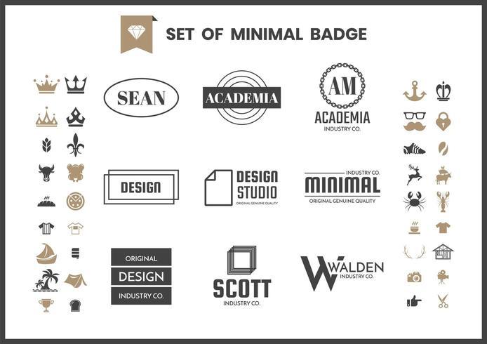 Set of minimal monochrome badges