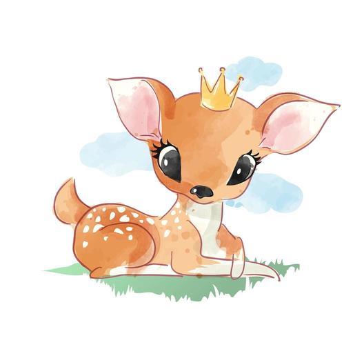 Cute dibujos animados ciervos sentados en la hierba ilustración vector