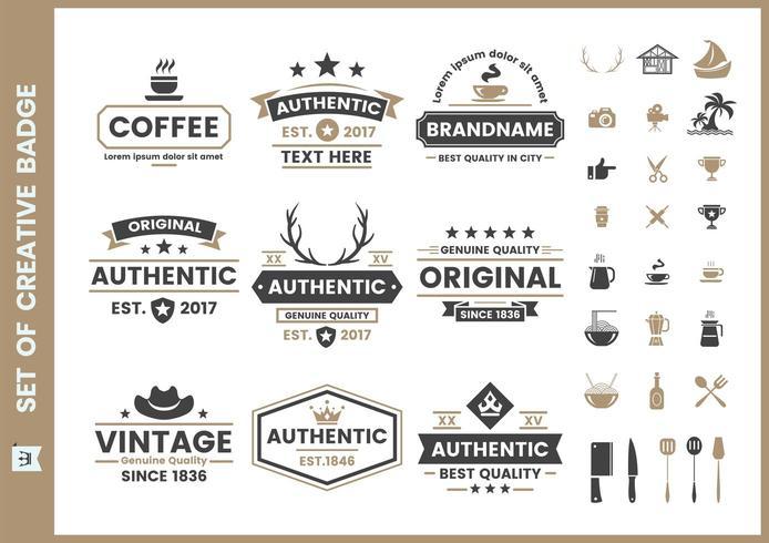 Set of vintage retro badges and elements