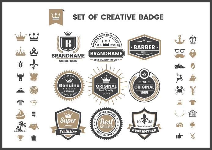Conjunto de logotipos vintage retrô e banners