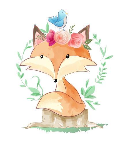 cute cartoon fox sitting on tree stump illustration vector