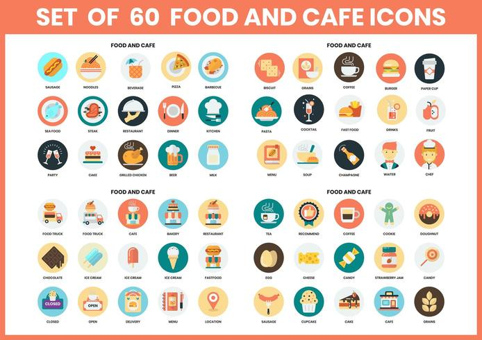Food and cafe circular icons set for business