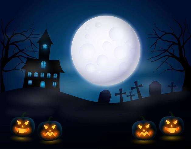Halloween Night with Scary Pumpkin and Realistic Full Moon vector