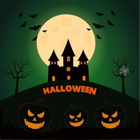 Halloween-Kürbis-Kopf mit Vollmond, Schlägern und dunklem Schloss