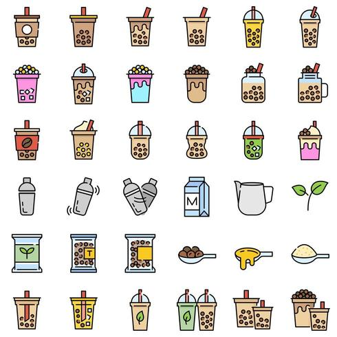 Chá de bolha ou chá de leite pérola cheio de conjunto de ícones