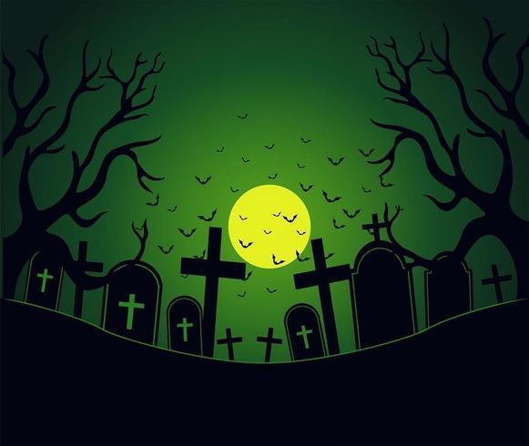 Giorno di Halloween con area del cimitero spettrale