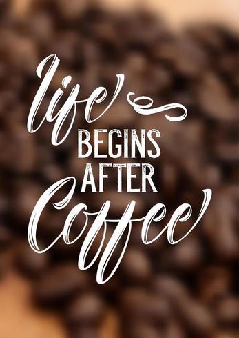 Citazione del caffè su sfondo sfocato