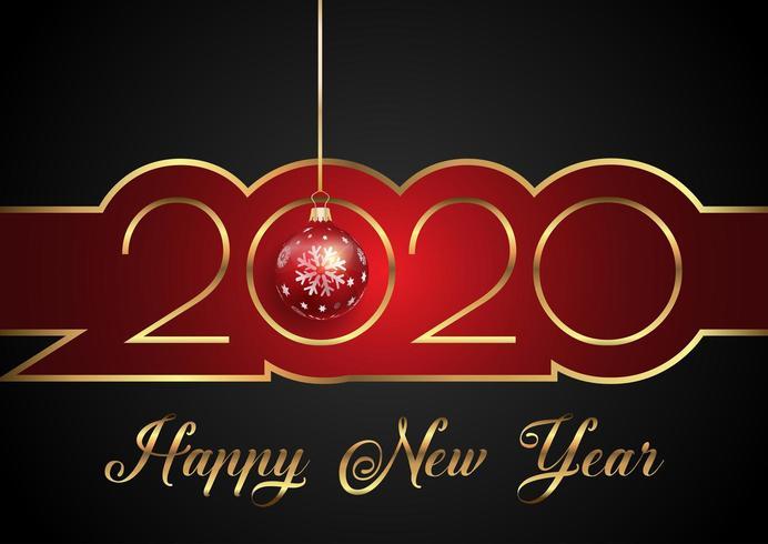 Bakgrund för gott nytt år med dekorativ text och hängande småsak