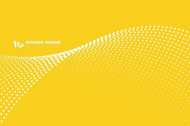 Patrón de onda de punto blanco minimalista amarillo abstracto vector