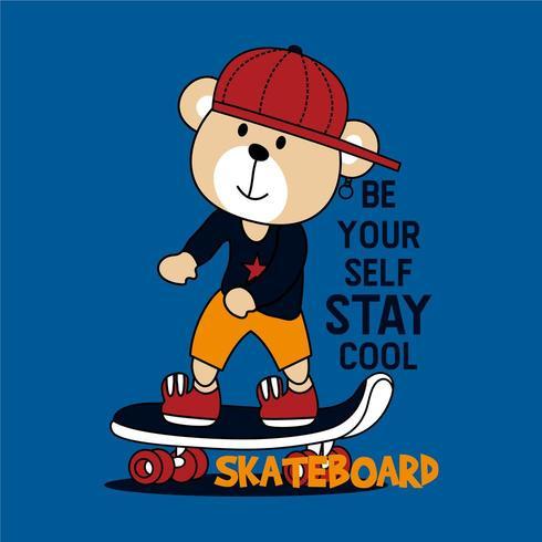 diseño fresco del oso patinador vector