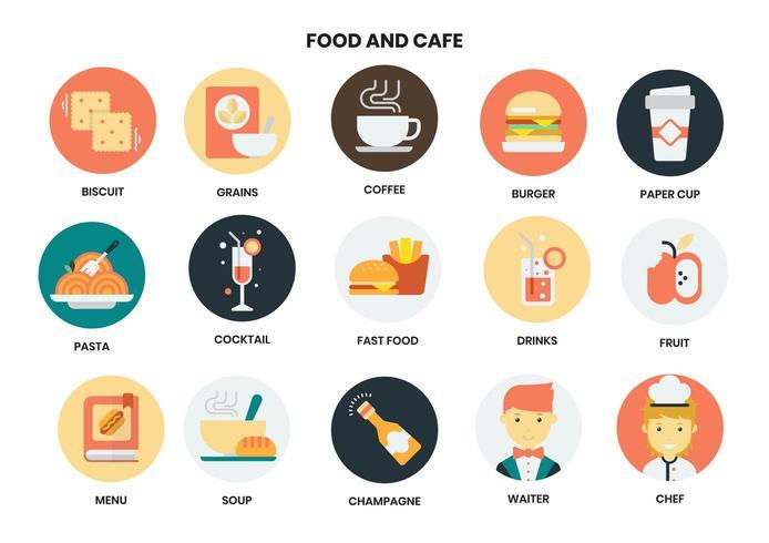 Conjunto de ícones circulares de comida e café