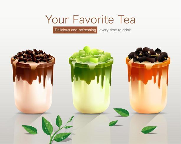 Bubble Tea en tres deliciosos sabores vector