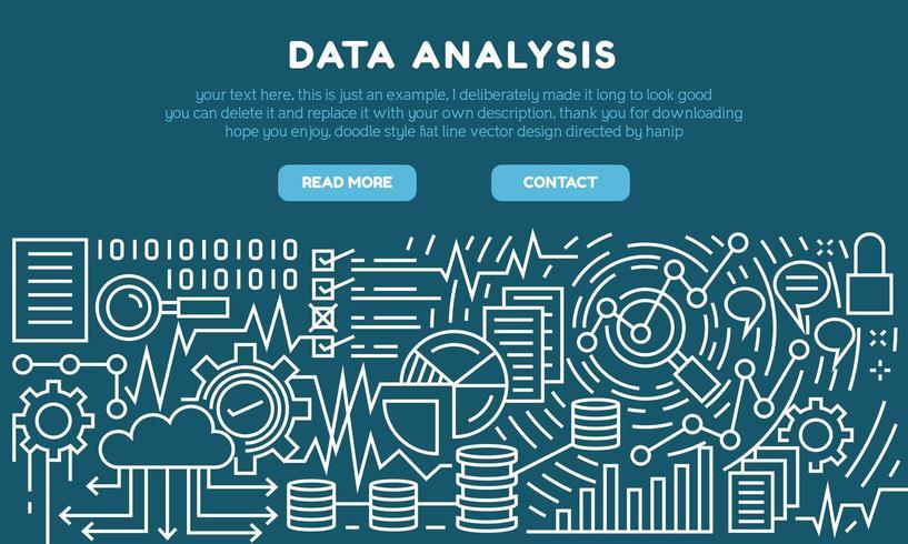 Página de destino de linha plana de análise de dados vetor