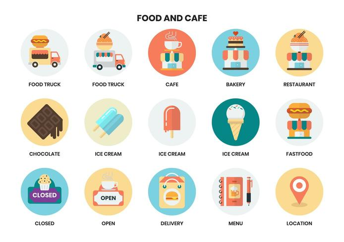Food and cafe service circular icons set for business vector
