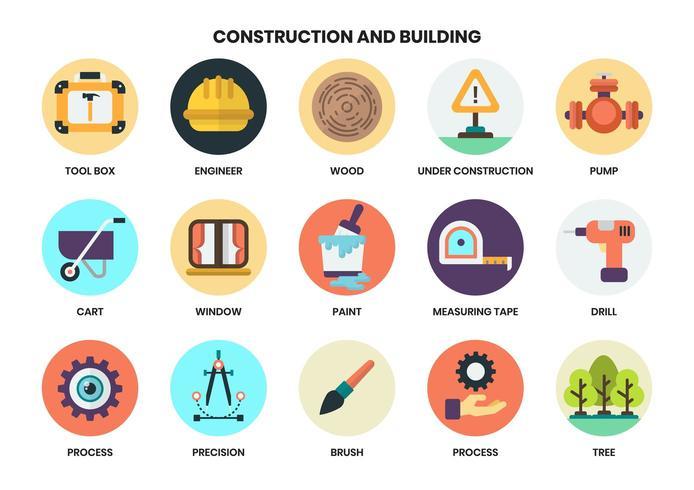 Ícones circulares de construção definido para os negócios